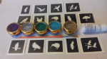 Bird mini themed glitter tattoo set including 30 stencils + 5 glitter colours + glue owl penguin parrot eagle swan